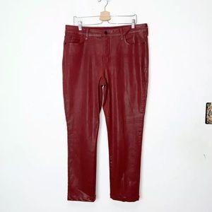 NYDJ Red Wax Coated Skinny Jeans